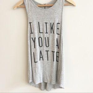 Gray I Like You a Latte Racerback Tank Top Sz. XS